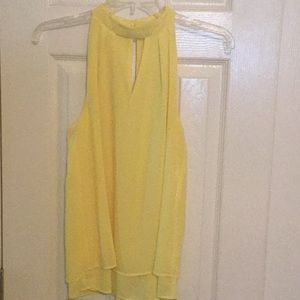 Bright Yellow Sleeveless Keyhole Top